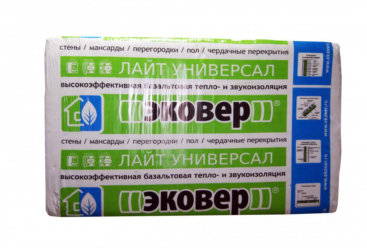 Минеральная плита Эковер Лайт Универсал 28 (1000x600х50мм), уп.12 плит (0,36 м3, 7,2 м2)